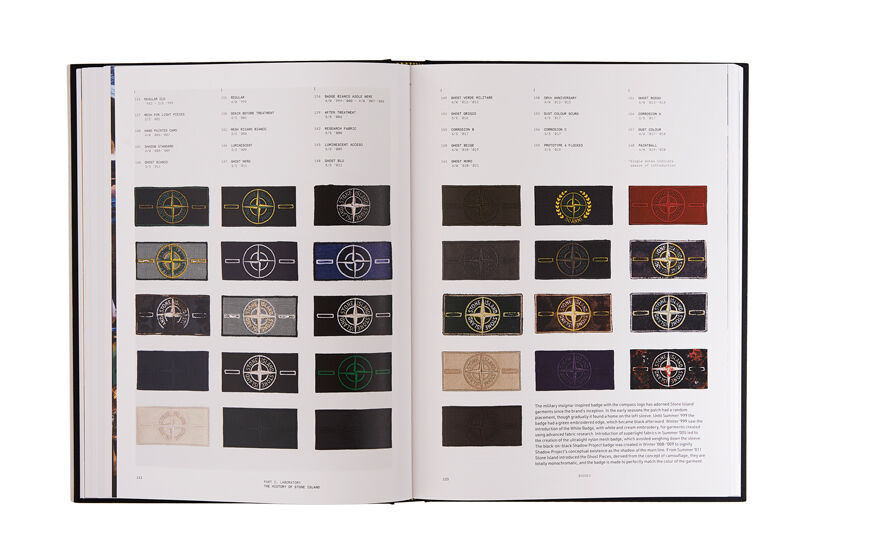 Still life image of an open hardcover book showing on both pages printed text and pictures of different Stone Island badges.