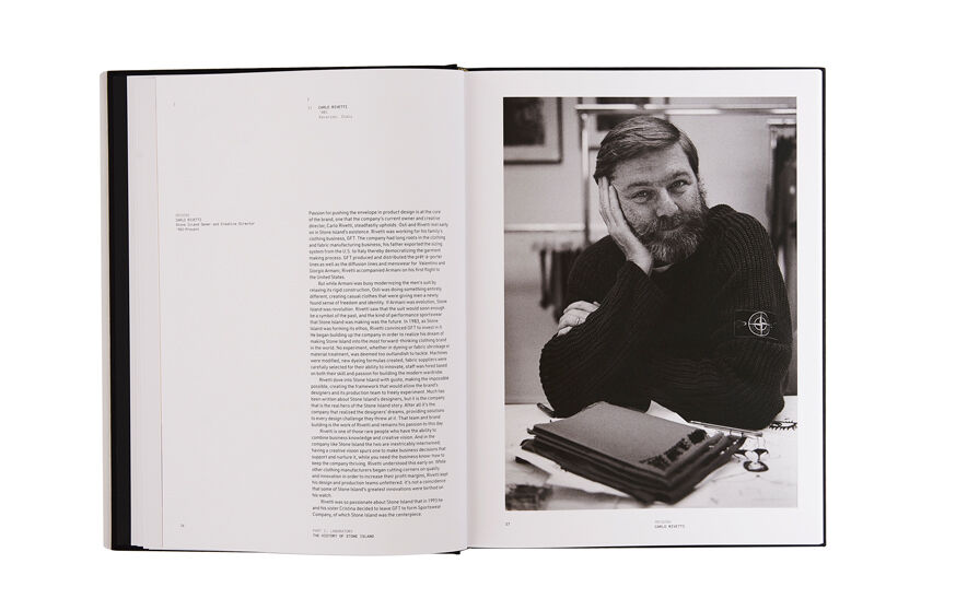 Still life image of an open hardcover book showing printed text on the left page and a black and white picture of Carlo Rivetti on the right page.