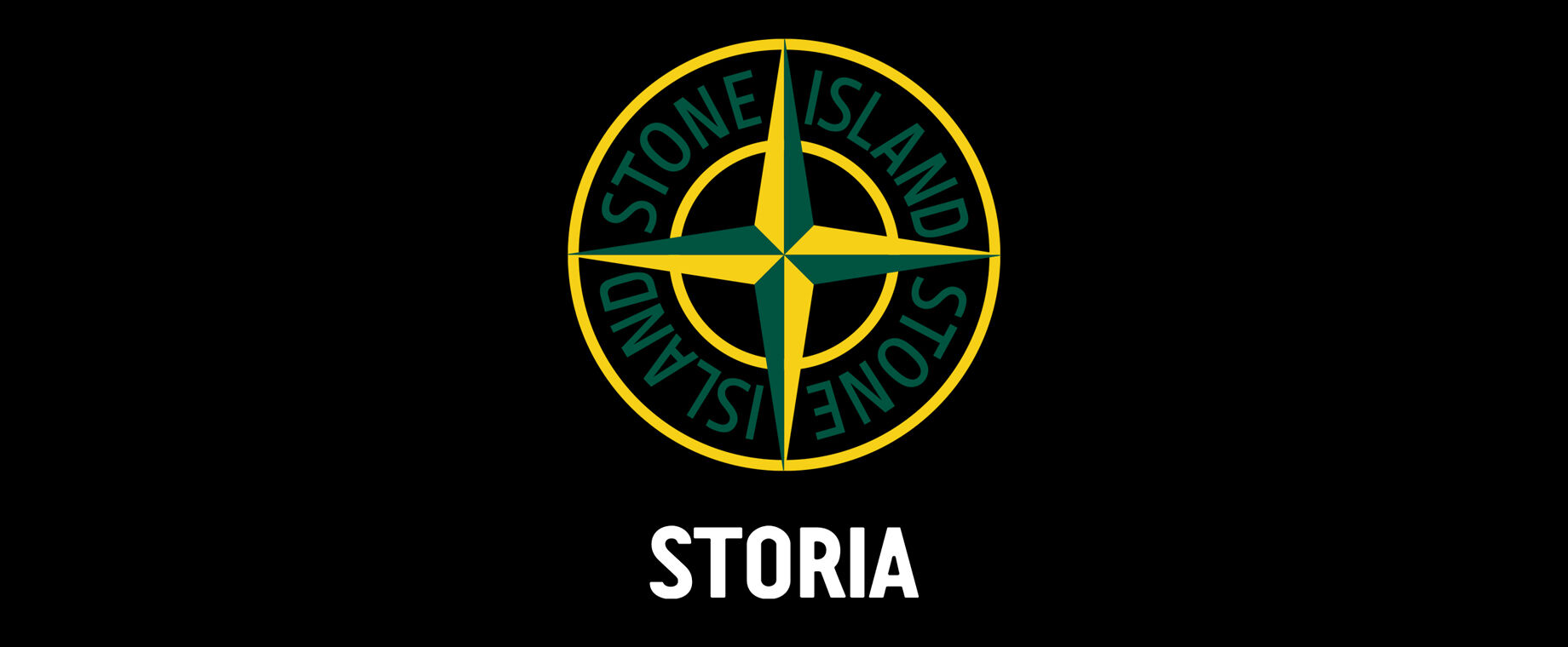 Green and yellow Stone Island compass logo and white lettering Storia against a black background.