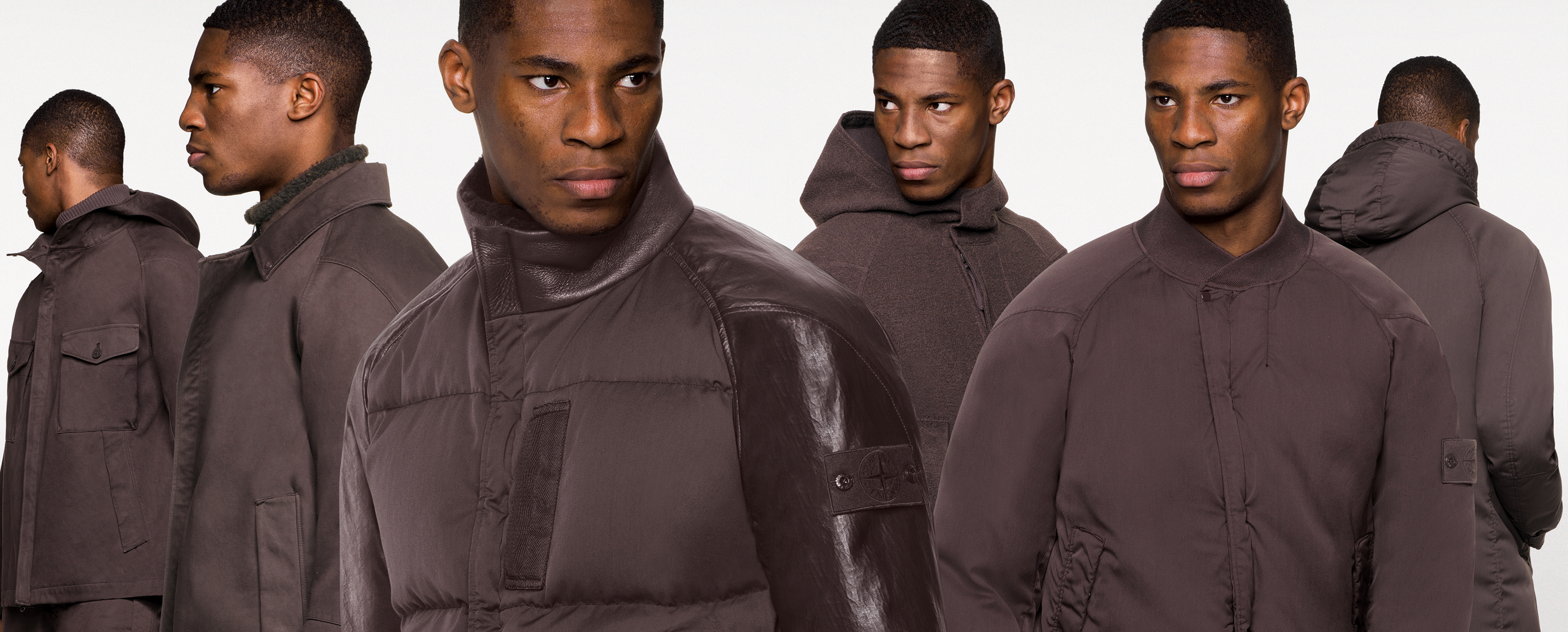 Six models wearing full dark brown outfits with different styles of jackets including bombers and hooded ones jackets.