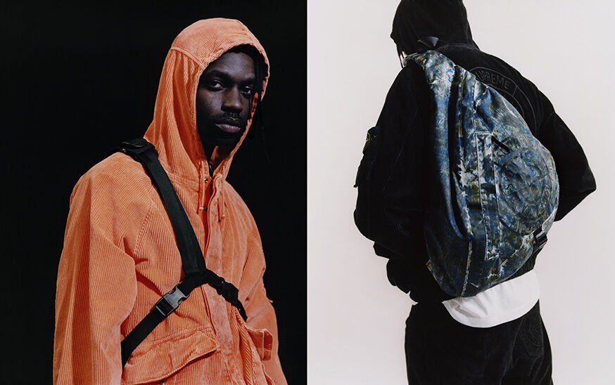 Two shots, one with a model wearing an orange corduroy hooded jacket and showing the black adjustable straps of a bag, the other one of a model wearing black pants and hooded jacket, and a camouflage backpack over the left shoulder.