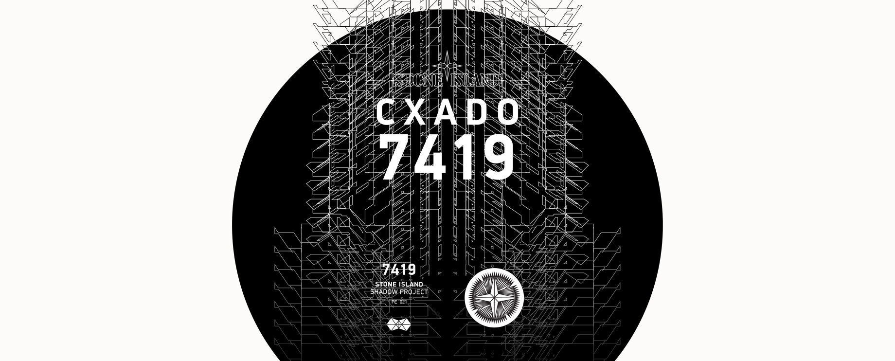 Stone Island black and white graphic print with the brand logo and lettering at the top that reads CXADO 7419 and on the bottom 7419 STONE ISLAND SHADOW PROJECT PE \'021 with a compass rose.
