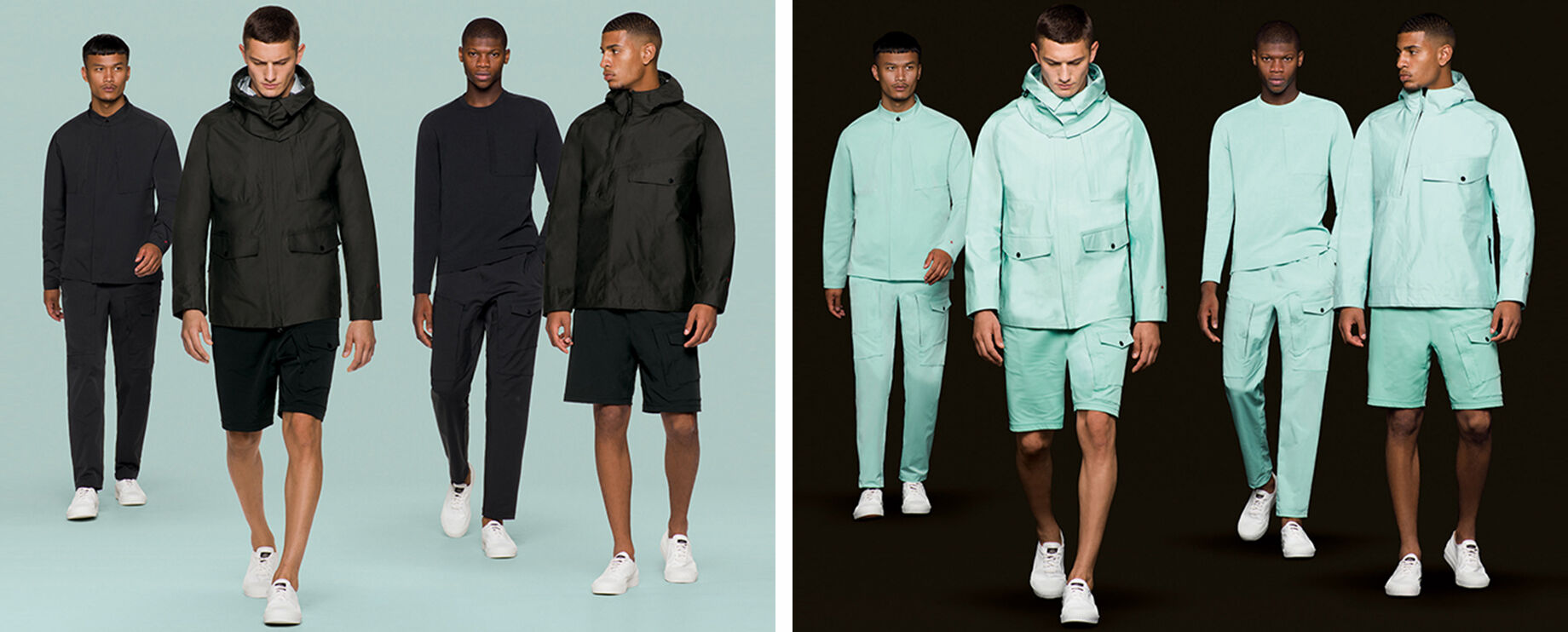 Four models wearing white sneakers and aqua green outfits with different styles of cargo shorts, cargo pants, sweatshirts and jackets next there are four models wearing white sneakers and black outfits with different styles of cargo shorts, cargo pants, s