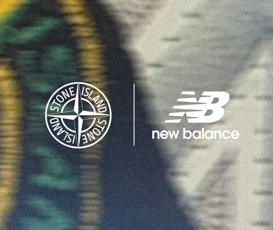 Against a blurred yellow, blue and light gray background, the Stone Island compass rose logo and the New Balance logo with a vertical slash between them.