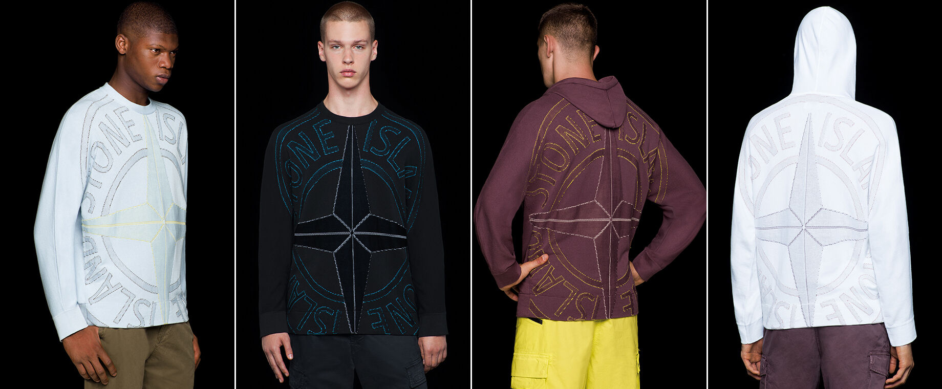 Four models wearing pants in different styles and colors, two of them wearing a crewneck knit with long sleeves and a large Stone Island compass rose logo embroidery on the front, the other two showing the same embroidery on the back of hooded knits.