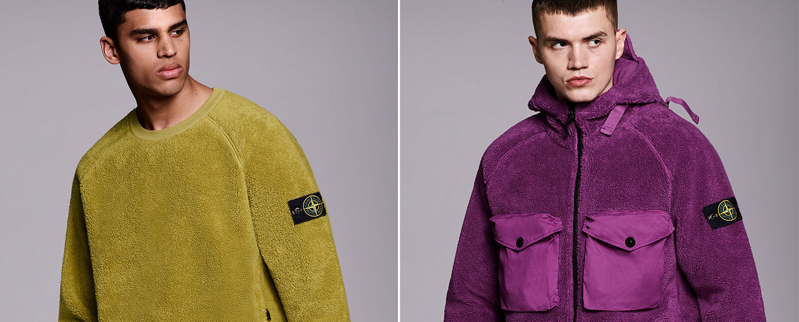 Two separate pictures, one of a model wearing a mustard borg fleece crewneck sweatshirt with raglan sleeves, the other one wearing a purple borg fleece sweatshirt with hood, black zipper fastening and two chest pockets with flap and snap.