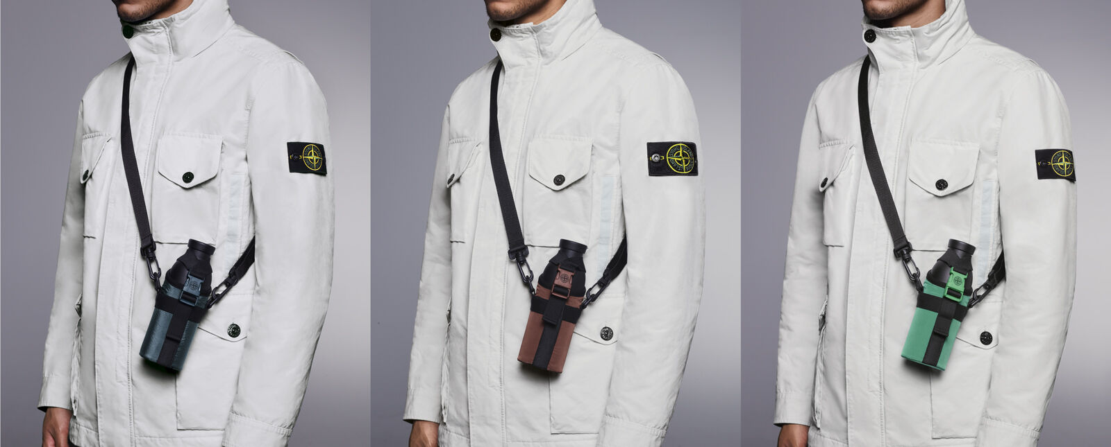 Three shot of a the same model wearing an off white jacket with standing collar, four pockets with flap and button and a water bottle carrier holder with cross body straps in dark blue, copper and bright green.