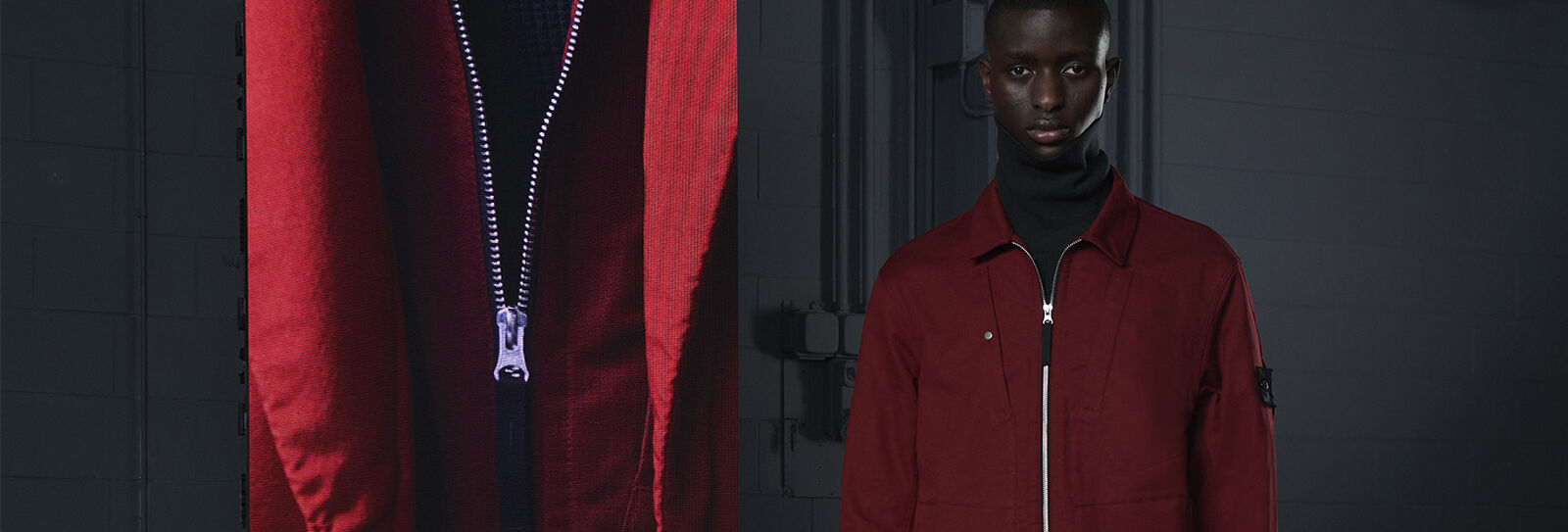 Model wearing a black turtleneck sweater under a dark red jacket beside an extreme close-up of the jacket zipper.