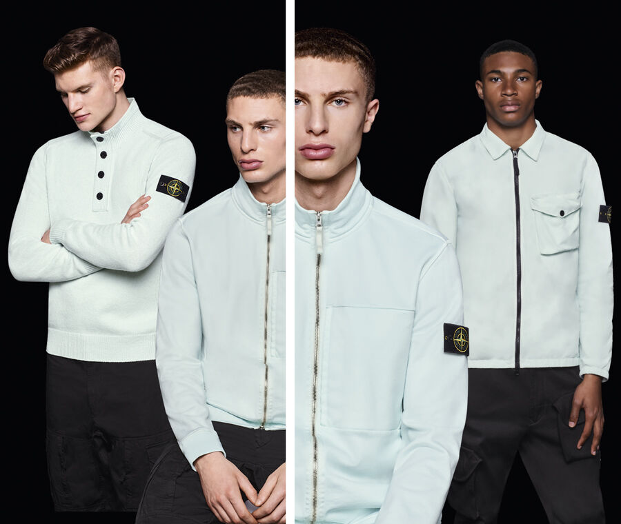 Three separate pictures, each one with three models, all wearing dark colored pants and aqua colored polo shirts, sweaters, jackets and sweatshirts in different styles.