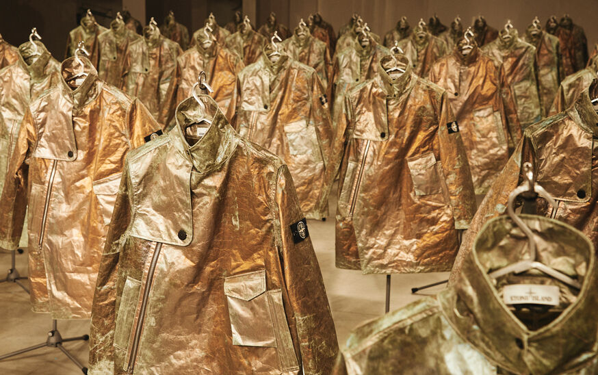 Numerous rows of Stone Island Prototype Research Series 05 Copper Nanotechnology jackets.