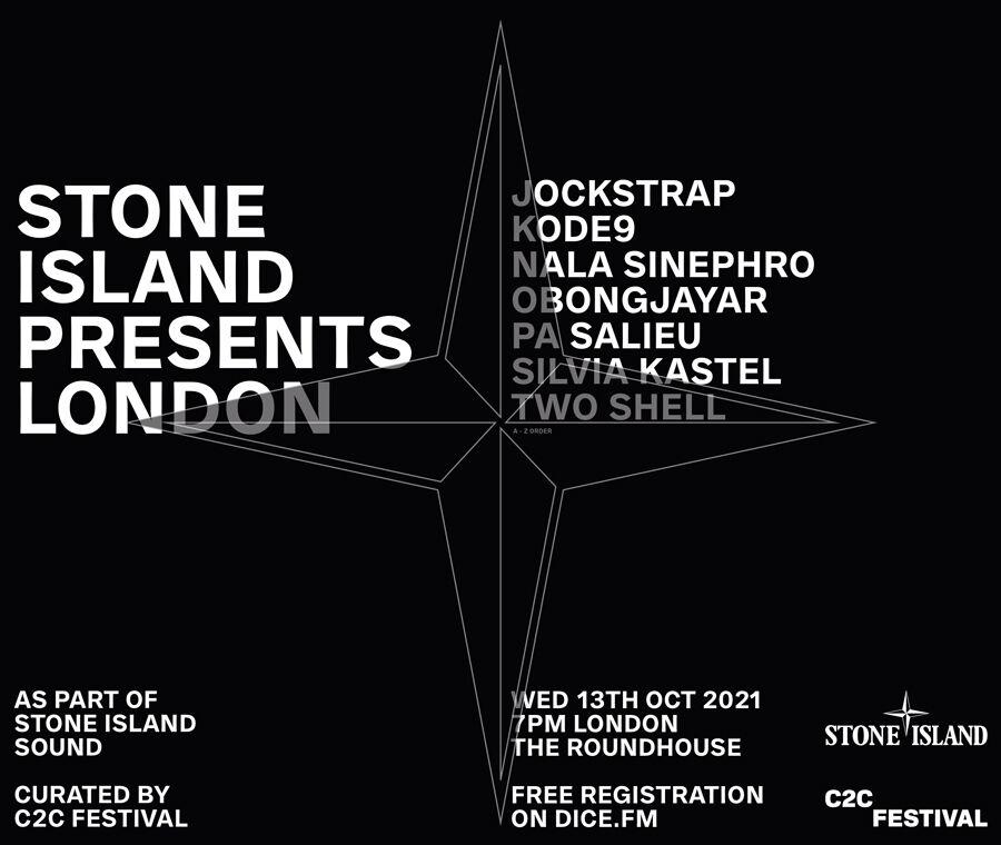 White text on black background. Stone Island Presents London. As part of Stone Island Sound.
