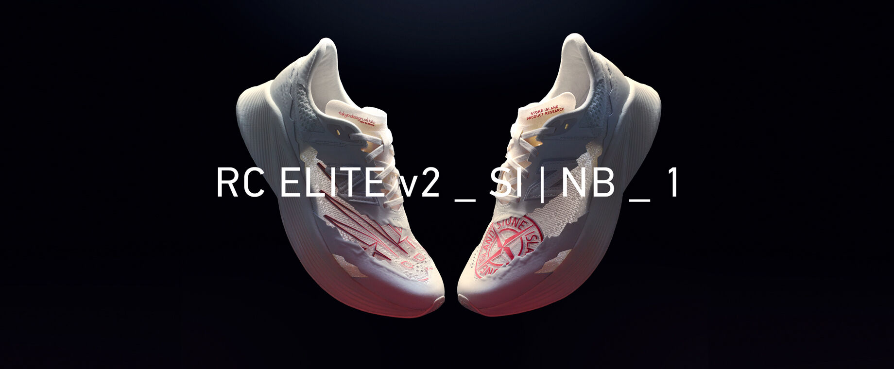 A pair of the white Stone Island x New Balance sneaker with a red Stone Island compass rose logo of black background. White text RC Elive v2_SI I NB_1